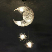 Modern Personalized Moon Star Pendant Lights Child Bedroom Lamps For Living Room Home Decorative Hanging Ceiling