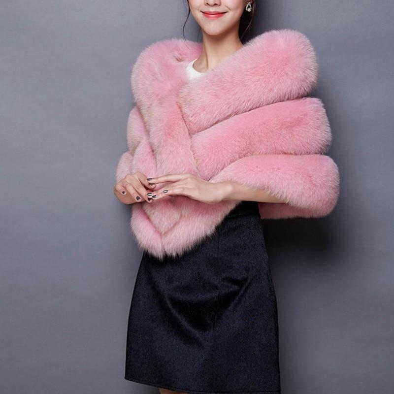 Winter Luxury Faux Fur Coats Women fox fur imitation mink fur poncho bridal wedding dress shawl cape women vest fur coat 3164
