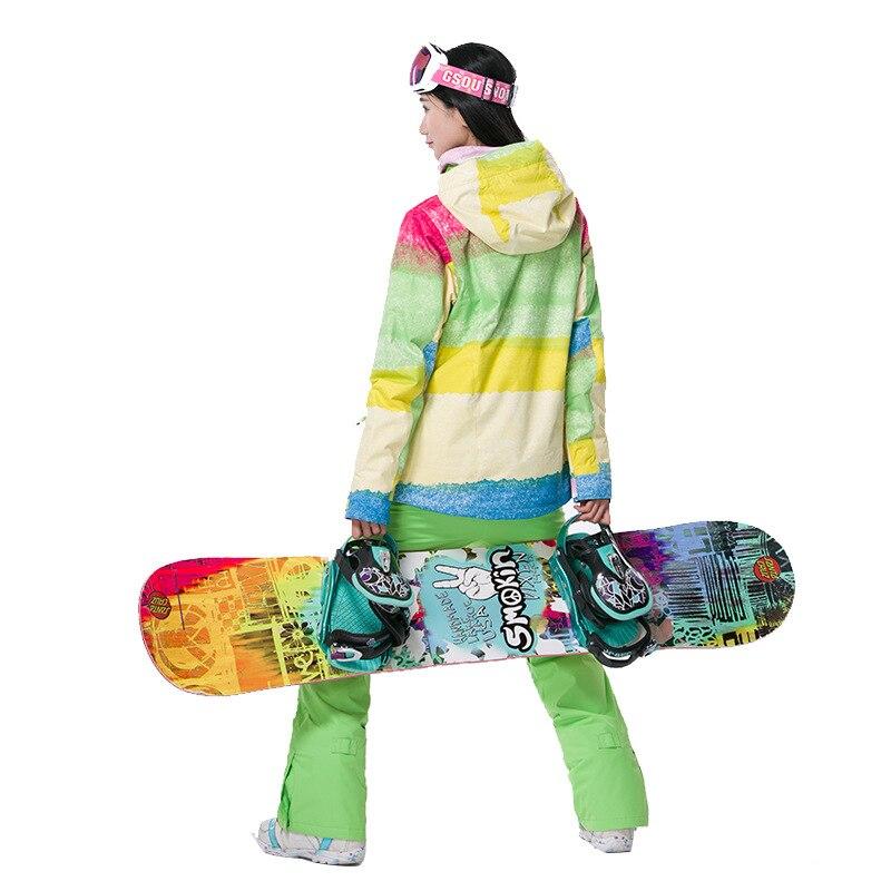 Gsou neige femmes Ski costume imperméable Snowboard veste coupe-vent chaud coloré hiver Sport manteau - 6