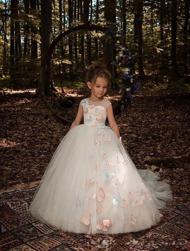 2019 Flower Girls Dresses For Wedding Jewel Neck Cap Sleeves Colorful 3D Butterfly Long Tulle Ball Gown Princess Party Girls