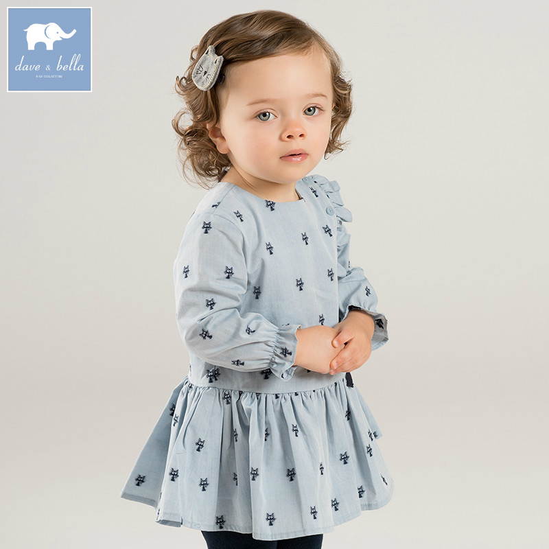 DBM8194 dave bella autumn infant baby girl's fashion print dress kids birthday party dress toddler children lovely clothes db7266 dave bella baby dress girls infant toddler clothing children birthday party clothes kids summer lolita dress