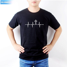 2018 Men Brand T-Shirt My Heartbeat Is The Christianity Cross Printed Mens T Shirt Funny Cotton Male Tshirts Big Size TO-25