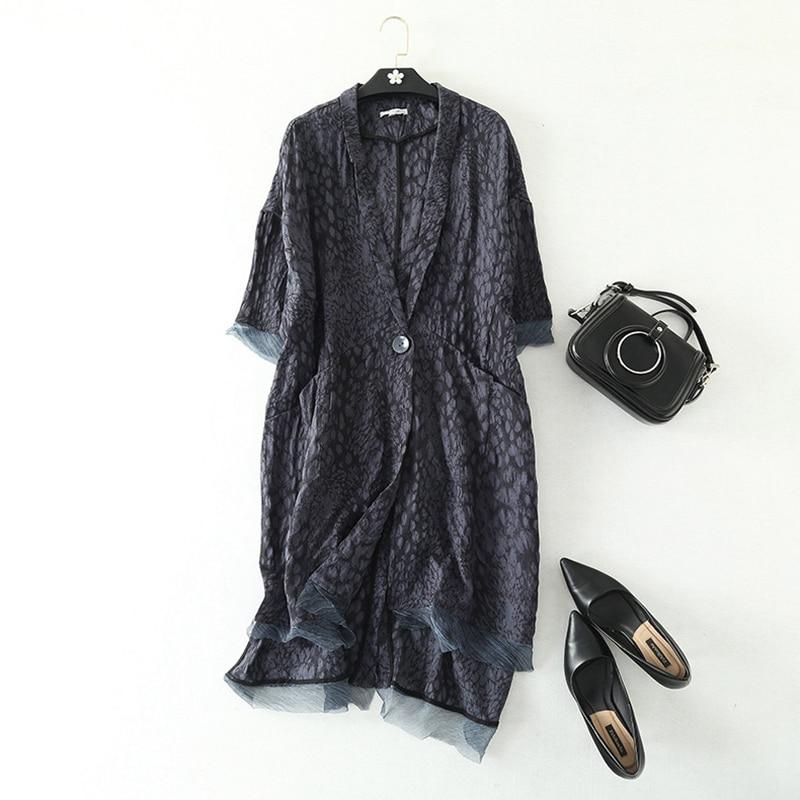 long Blazers Women Loose Outerwear 100 Linen Patch Silk Printed Notched Pockets Single Button Plus Size