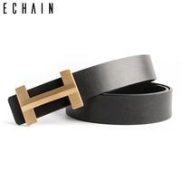 ECHAIN Solid Brass Luxury H Buckle Brand Designer Belts Men High Quality Women Punk Genuine Real