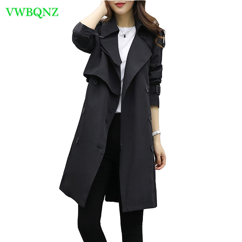 High quality Black Windbreaker coat Women Slim Thin Long   Trench   Coat Spring Women's Korean New Loose Plus size Top Coat A159
