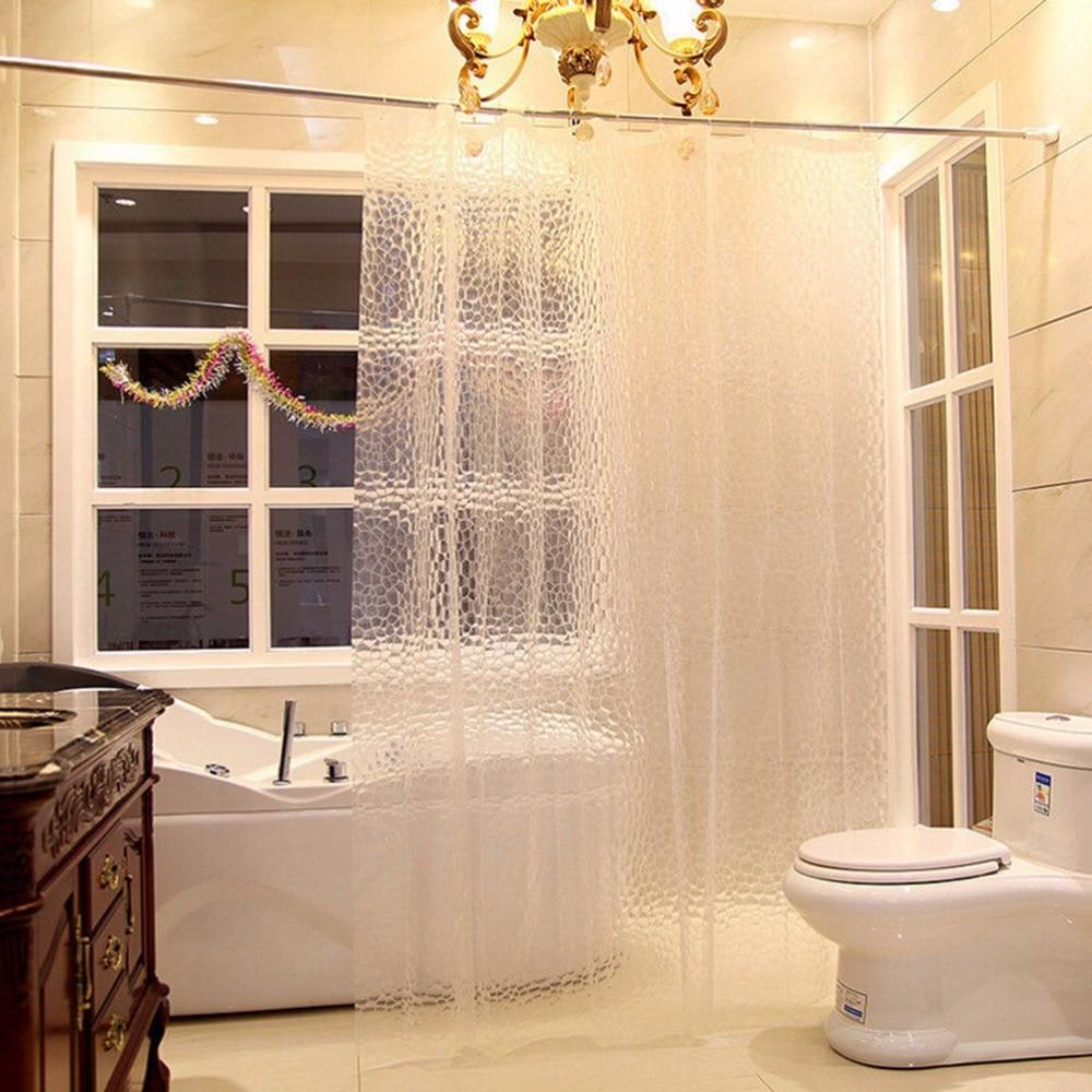 Sanitary Ware Suite 3D Water Effect Cube Design EVA Bathing Shower Curtain Water Resistance Waterproof Home Bathroom Curtains