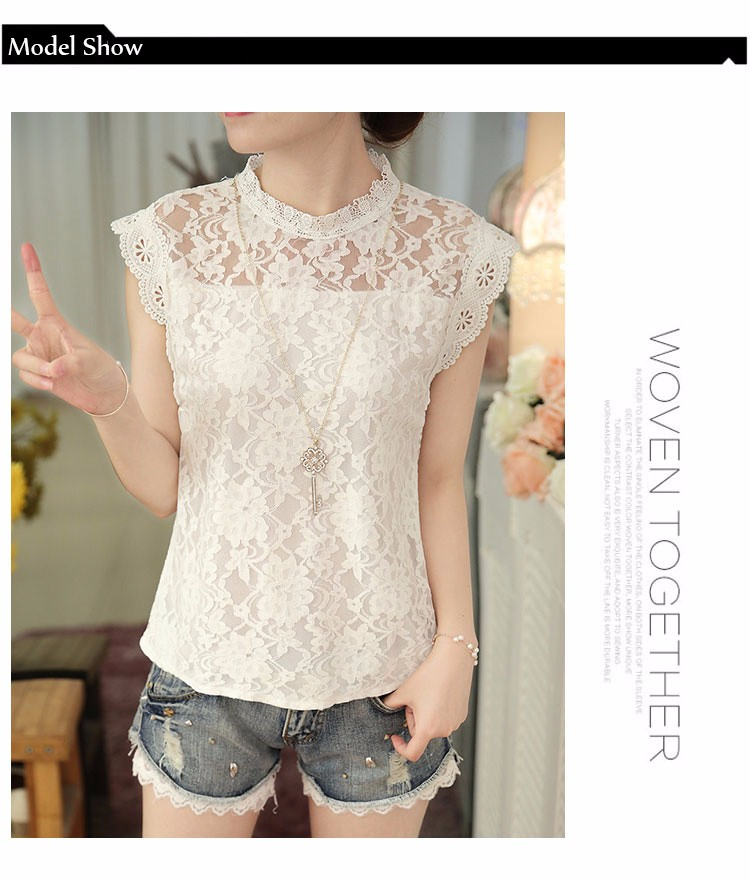 2640cb7678f Summer Ladies Tops Sexy Plus Size White Gray Lace Blouse Top Crochet  Sleeveless Stand Neck Casual ...