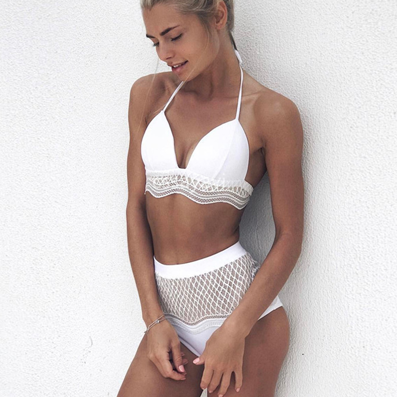 Brazilian 2017 Sexy White Swimsuit Women Solid Lace High Waist Bikinis Set Padded Swimwear Push Up Bathing Suit  maillot de ba white lace up swimsuit
