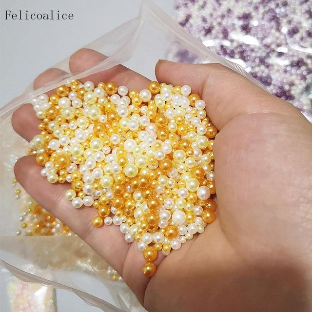 1KG 2.5-5mm Acrylic Imitation Pearls For Crafts Mix No Hole Art Pearl Beads Jewelry Making Pearls For Handicrafts Material