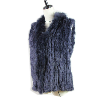 2020 new Women Genuine Natural Real rabbit fur Knitted Vests /Waistcoat/ gilet /coats with  Raccoon Fur collar vest 20 colors