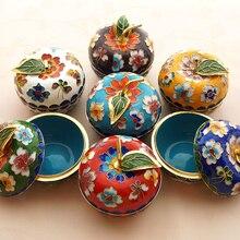 В форме яблока, китайская перегородчатая эмаль, декоративная шкатулка, ручная работа, фетальные медные филигранные эмалированные украшения, домашний декор, ремесла, подарок
