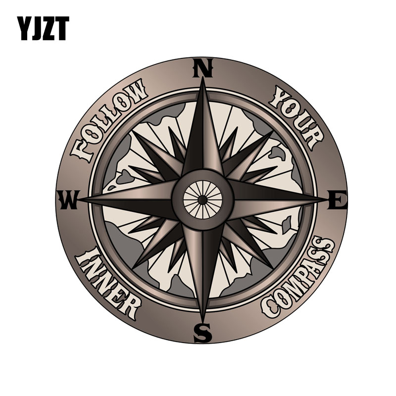 YJZT 13CM*13CM Funny Follow Your Inner Compass PVC High Quality Car Sticker 11-00172