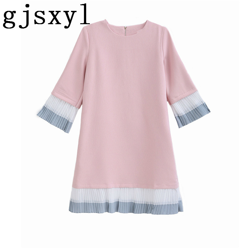 2018 Pregnant Woman Spring maternity Clothes New Pattern Chiffon Split Joint Round Neck Hit Color Dress elegant
