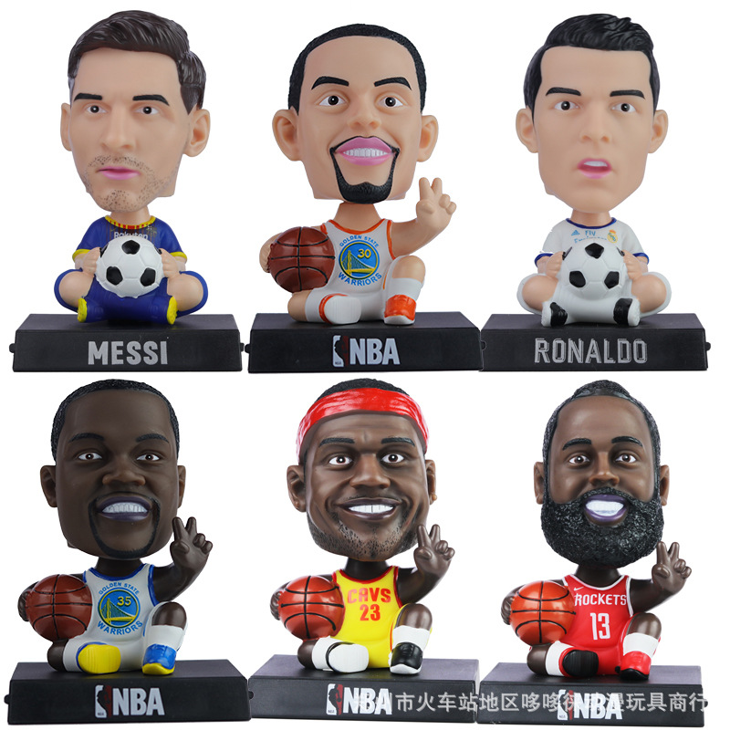 1PC Artificial Football Star Doll NBA Basketball Figurines Miniatures Car Shook Head Resin Ornament Home Decorations Accessories