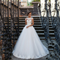 Cap Sleeve Lace Appliqued vestido de noiva praia Vestido de Noiva 2016 vestidos de noiva Aberto Para Trás Pérolas