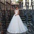 Vestido de noiva praia Cap Manga de Encaje Con Aplicaciones Espalda Abierta Perlas Vestido de Novia 2016 vestidos de novia