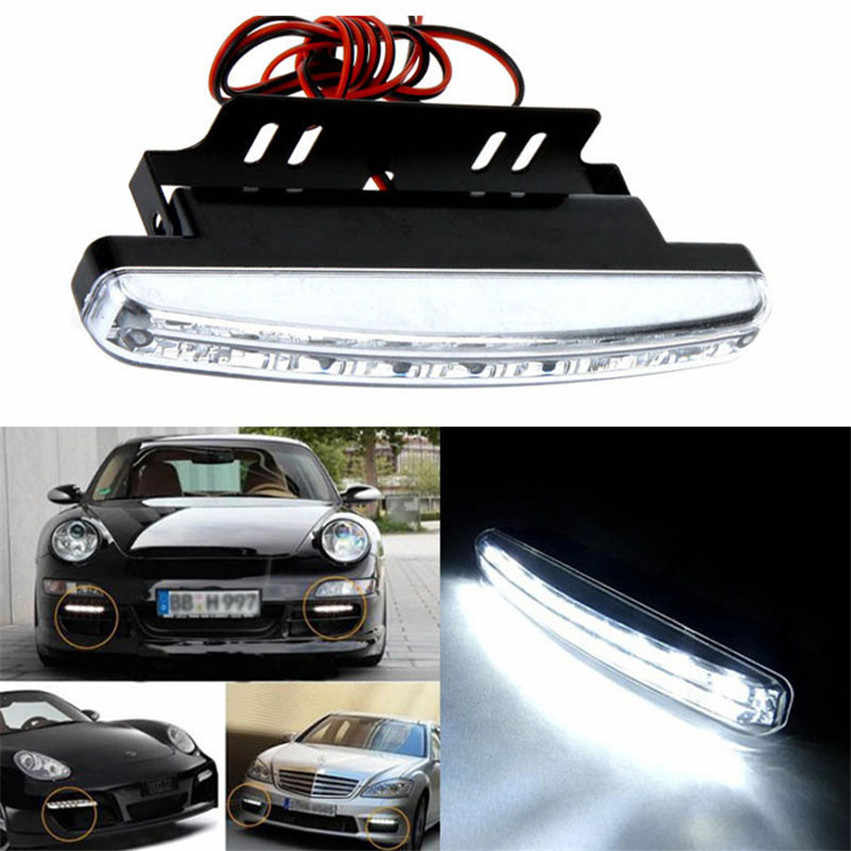 1 Pcs 12 V 8 W 8LED Daytime Running Light Tahan Air Eksternal Led Mobil Styling Mobil Sumber Cahaya Kabut Bar lampu Putih