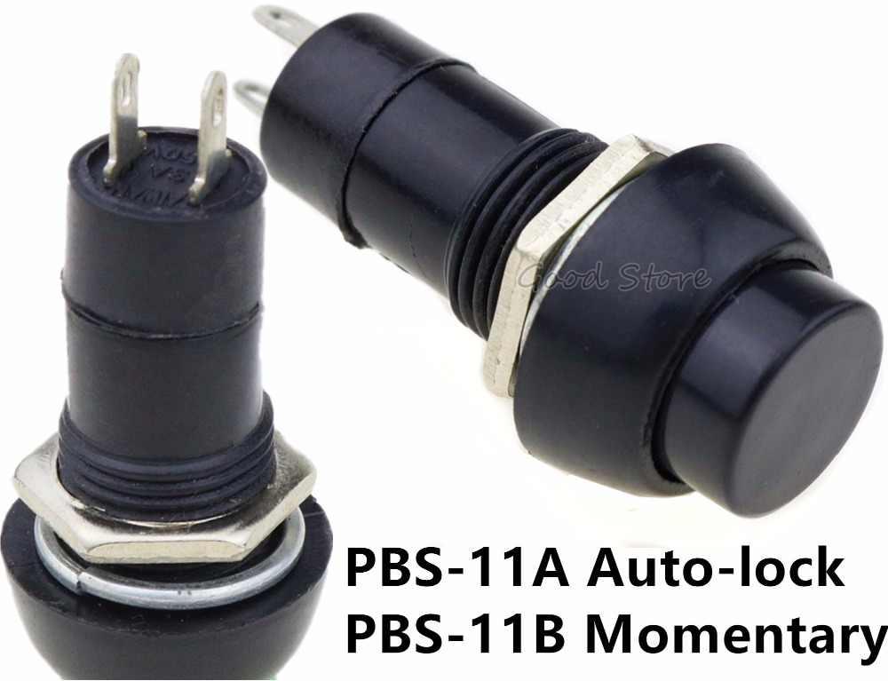 1 個 PBS-11A PBS-11B 黒ラウンド Off (On) モメンタリ/自動ロックプッシュボタンスイッチ SPST