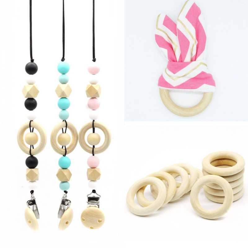 1 ud., 25mm-60mm, anillos de Odontoprisis de madera Natural para bebé, Color de madera, collar creativo, pulsera Diy, artesanías hechas a mano MJG6952