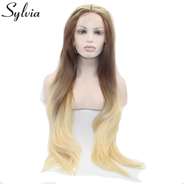 Sylvia Braun Blond Two Tone Ombre Naturliche Gerade Synthetische