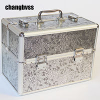 Vintage Style Flower Women Cosmetic Storage Box Portable Makeup Organizer For Travel Large Capacity Cosmetic Bag organizador