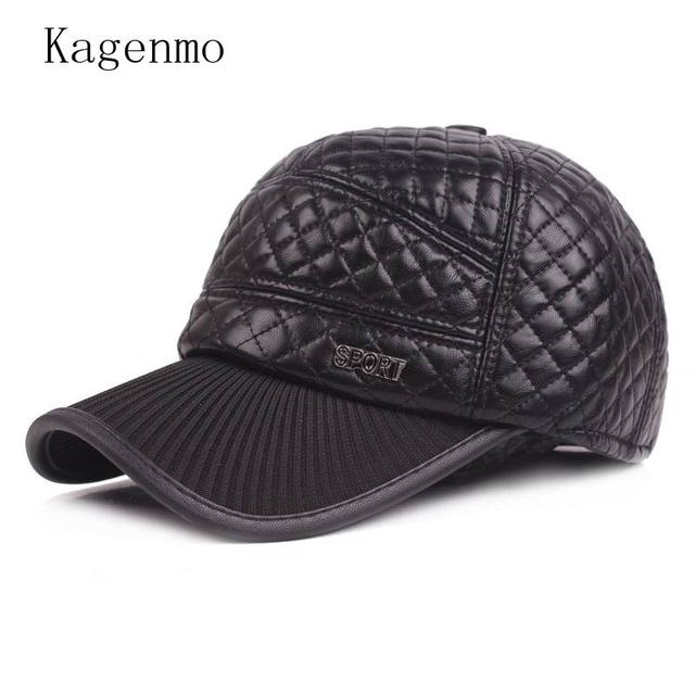 Kagenmo Men Winter Hat Keep Warm Thick Ear Protection Man Baseball Cap PU  Leather Male Cap 4c2af3310ede