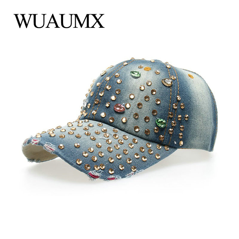 Wuaumx Wholesale   Baseball     Caps   For Women With Rhinestone Bling Beauty Girl Snapback   Cap   For Female Denim Crystal Hats 7 Colors