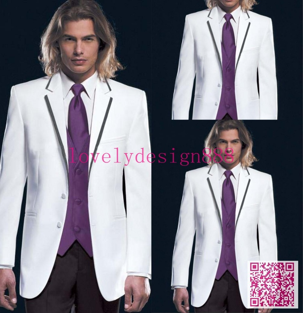 Hot Sales White Wedding Tuxedos With Lapel Black Collar Edge Bespoke Suits Purple Vest And TieCustom Made Mens Suit In From