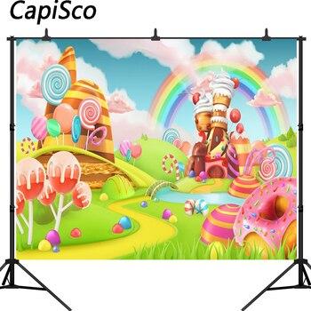 Capisco fotografia tło kolorowe cukierki zamek kreskówka dla dzieci urodziny tęczy wróżka opowieść tło do zdjęć fotografia studio