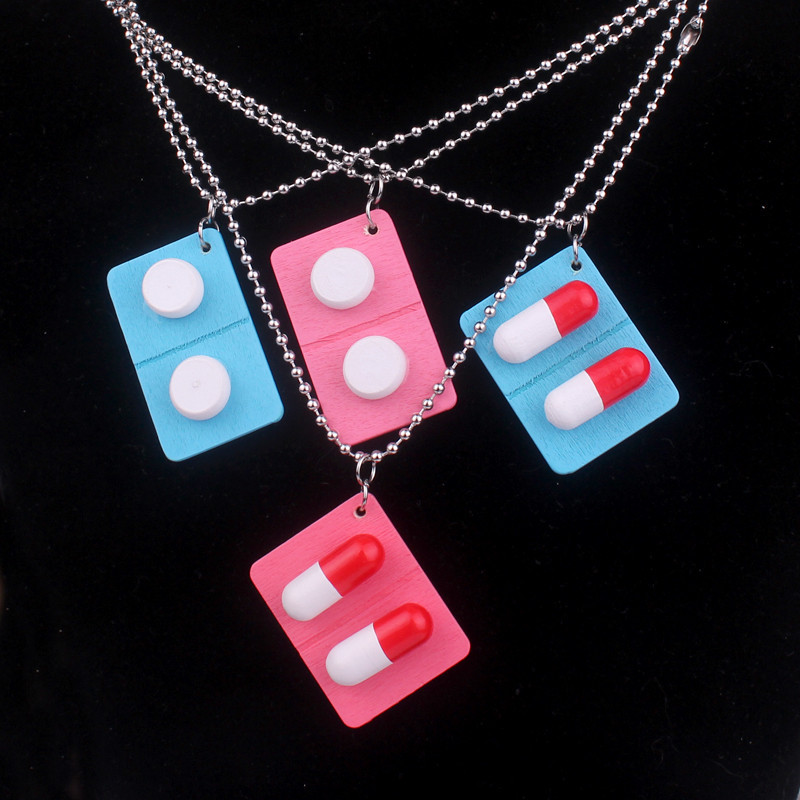 Cute Handmade Wooden Capsule Pills Stainless Steel Pendant Necklace Funny Medicine Necklace for Women Girl Unique Jewelry Gift(China)