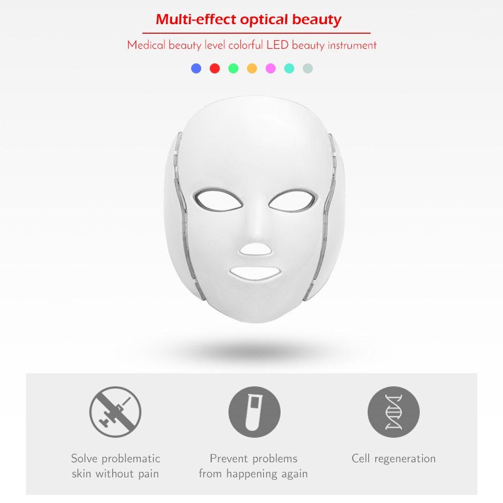 7 couleurs LED clair masque Facial avec rajeunissement de la peau du cou traitement de soins du visage beauté Anti-acné thérapie blanchissant la peau serrer - 3