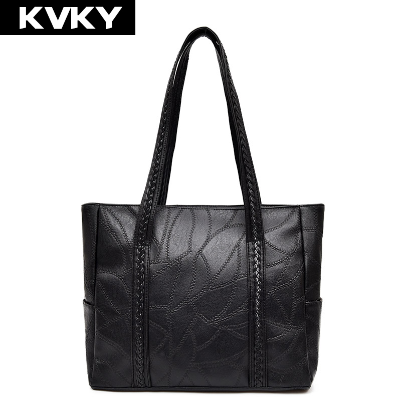 KVKY Luxury Women Handbags Patchwork Sheepskin Shoulder Bag Casual Tote Bags High Quality Designer Female Shopping Bag bolsa sac women leather handbags shoulder bag women s casual tote bag female patchwork handbags high quality sac a main ladies hand bags