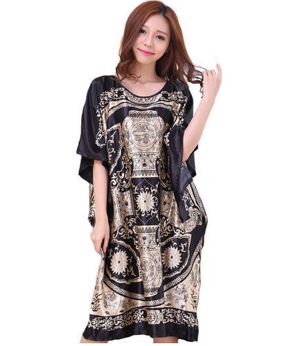 Novelty Print Black Female Satin Robe Dress Nightgown Novelty Women's Kaftan Bath Gown Summer Lounge Homewear Plus Size 6XL