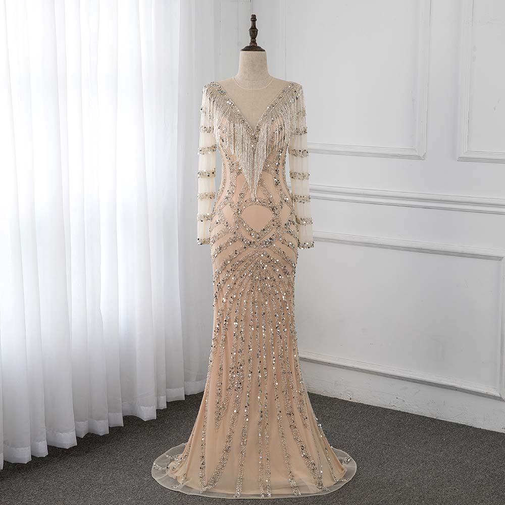 Couture Nude Long Sleeve   Evening     Dress   Bling Crystal Mermaid   Dresses   Formal Gown Robe De Soiree YQLNNE