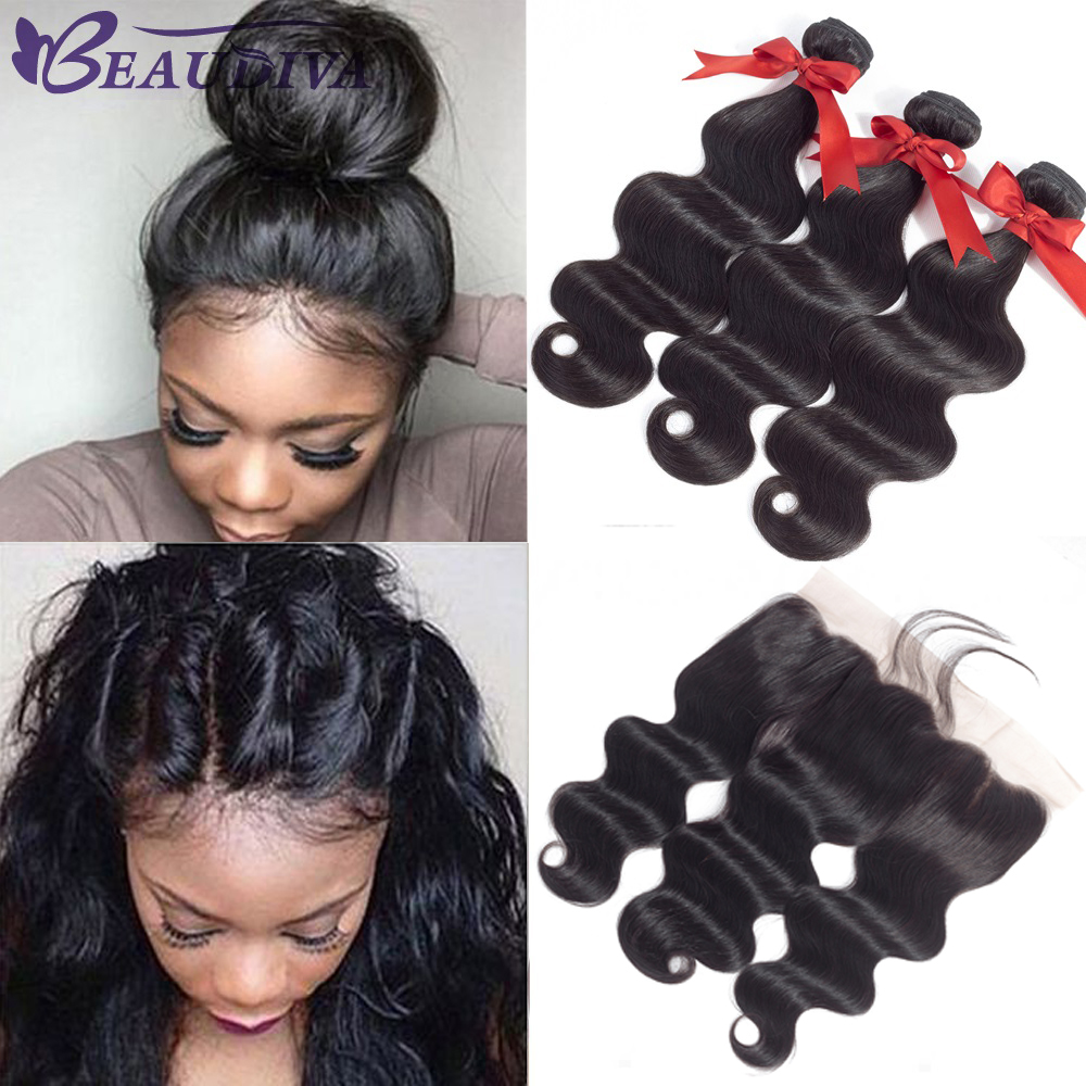 Beaudiva Brazilian Hair Weave Bundles With Frontal With Bundles Brazilian Body Wave Human Hair Bundles With Lace Frontal Closure