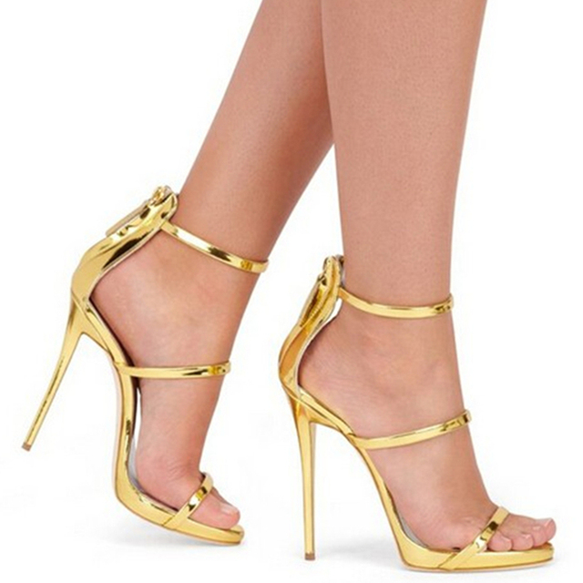 52d6e63bf0f Hot Harmony Metallic Strappy Sandals Silver Gold Platform Gladiator Sandals  Sexy High Heels New Fashion Peep Toe Women Shoes 43