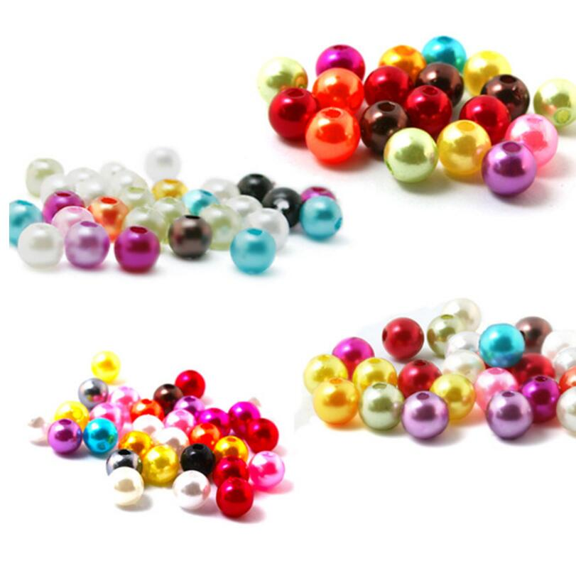 4/6/8/10mm Round Imitation Plastic Beads Pearl Beads For Jewelry ...