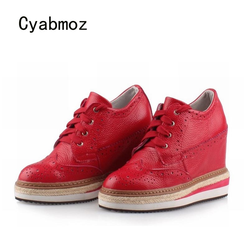 Cyabmoz Women High heels Platform Shoes Wedge Genuine leather Height increasing Lace up Low top Party Ladies shoes Zapatos mujer lace up plunge neckline high low sweater