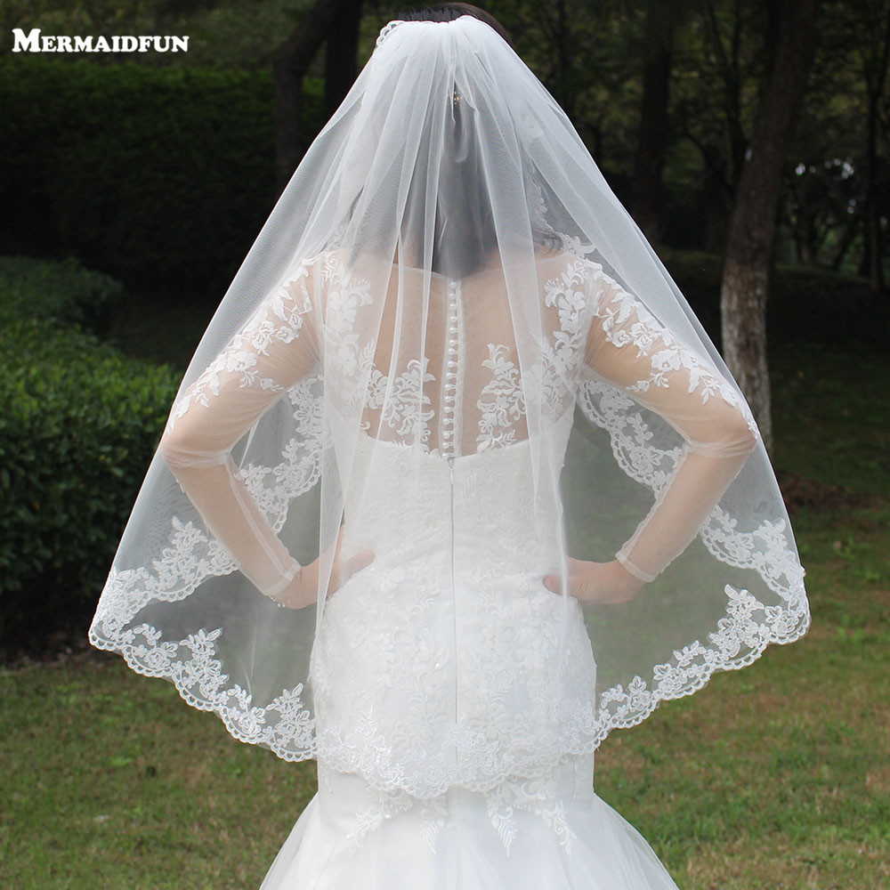 Wedding-Veils Short Lace Ivory White Comb Appliques-Edge One-Layer Woodland Real