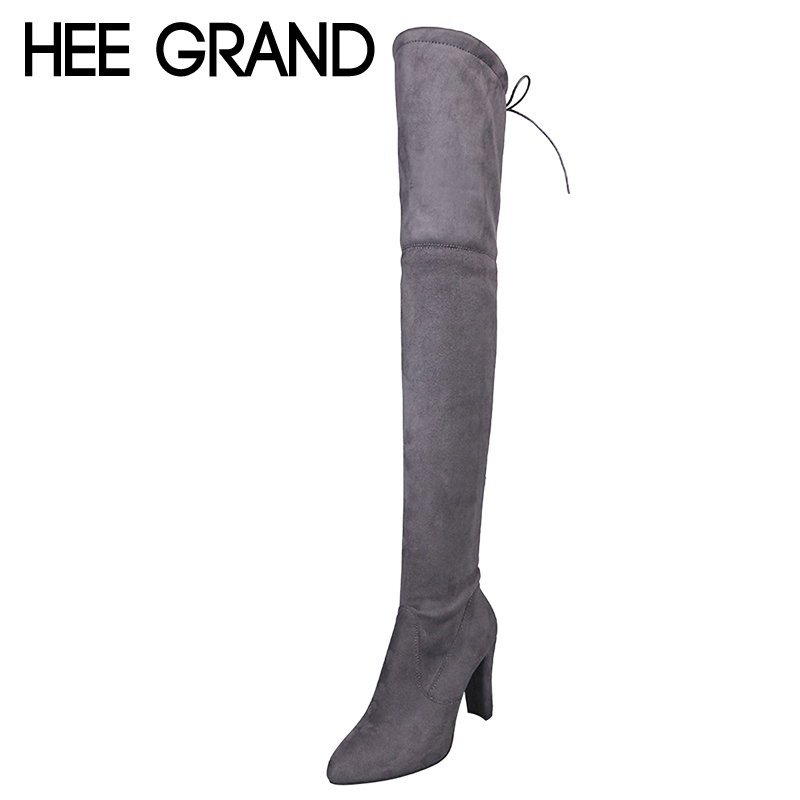 HEE GRAND 2017 New Over Knee High Boots Spike Heels Slip On Winter Warm Women Boots Fashion Solid High Heels Shoes Woman XWX6575 solid black winter spring women fringe decoration shoes slip on pointed toe spike high heels mid calf boots women free shipping