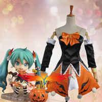 Vocaloid hatsune miku nendoroid halloween versão miku cosplay traje sexy saia feminina personalizado mini saia sexy com meias