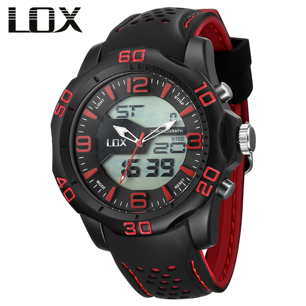 LOX Heren Sport Analoog Digitaal Horloge Dual Display - Herenhorloges