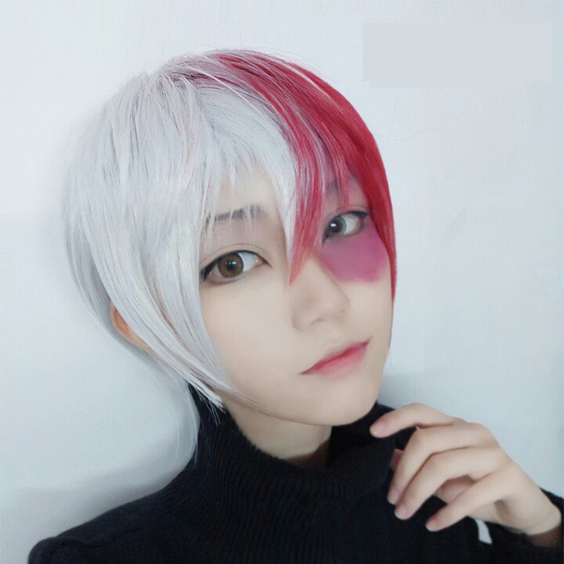 A My Hero Academia Boku no Hiro Akademia Shoto Todoroki Cosplay Wig Women Man Red White Short Hair Wig Cosplay Props