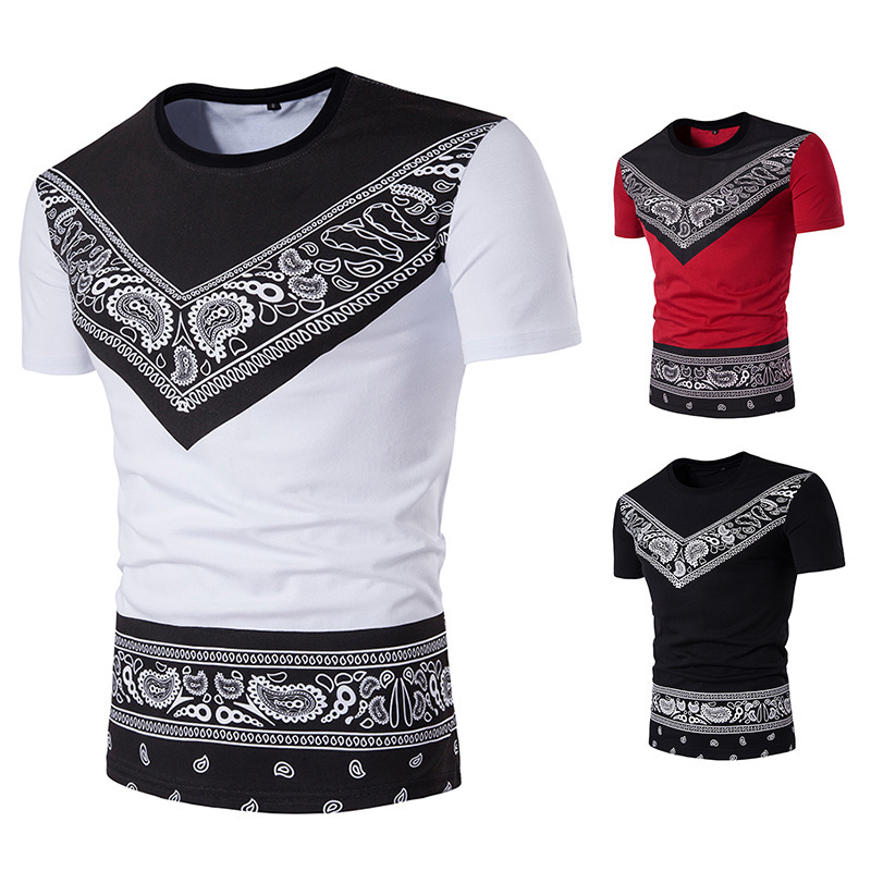 Men's Short Sleeve t shirt  Summer Casual Prints Color Suits and Bottoming fashion tshirts mens clothing