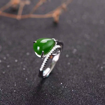 Natural green jasper Ring Natural gemstone ring 925 sterling silver trendy Elegant water drop women girl party gift Jewelry