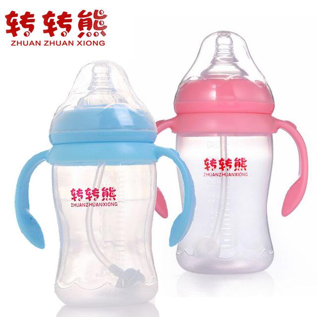 O grande calibre Bebê PP garrafas com palha evitar inchaço Mamadeira para o Bebê de Enfermagem Garrafa Bpa Livre com Alça B152