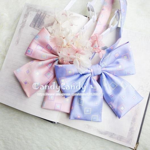 Krawatten & Taschentücher Damen-accessoires Quadratischen Muster Weichen Rosa & Blue Farbe Britischen Japanischen Schule Mädchen Jk Uniform Bowknot Krawatte Studenten Krawatte Cosplay Lolita