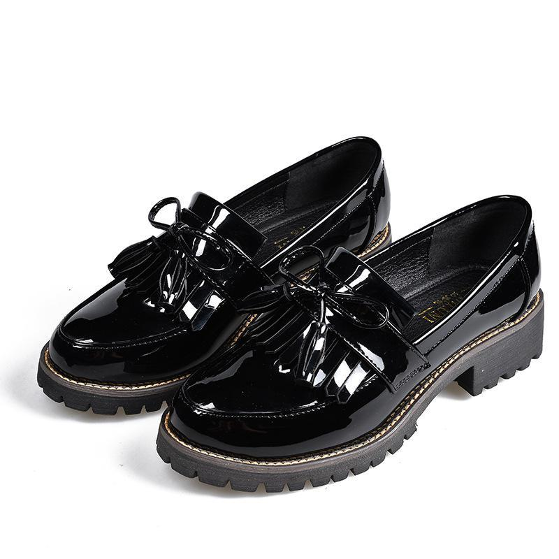 Women Flats new British Style Oxford Shoes Women Spring Soft Leather Casual Shoes Retro Tassel Lace Up Women flat Shoes Brogue S