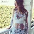 Mlanxeue Женская Мода Прозрачный Лето Спинки Clothing Sexy Кружева Футболка Весна Женщины Топы Свободные Рубашки Вскользь Женщин
