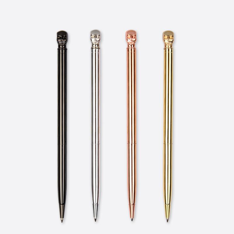 Never Skull Shape Style Metal Ballpoint Pen Spinning Writing 0.7mm Black Ink Office Accessories Business Gift School Supplies black new arrival ballpoint pen and bag metal school office supplies roller ball pens high quality business gift 003